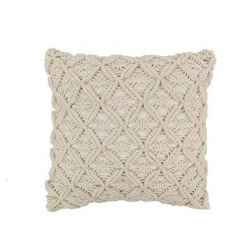 Donna Sharp Mountain Lodge Crochet Decorative Pillow, White, Fits All