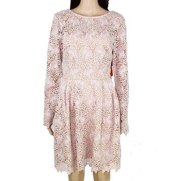 Monique Lhuillier Women's Pink Size 12 Floral Lace Pleat A-Line Dress