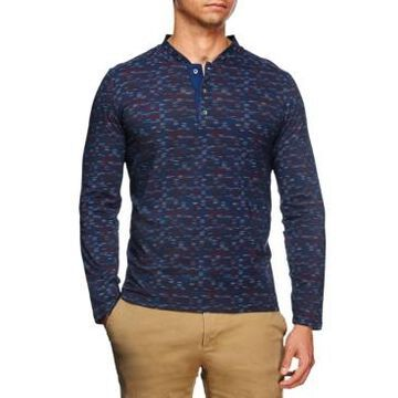 Tallia Men's Slim Fit Texture Print Long Sleeve Henley and a Free Face Mask