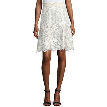 Floral Guipure Lace Knee-Length Skirt