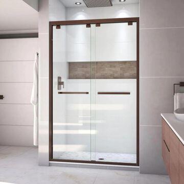 DreamLine Encore 76-in H x 44-in to 48-in W Semi-Frameless Sliding Oil Rubbed Bronze Shower Door (Clear Glass) | SHDR-1648760-06