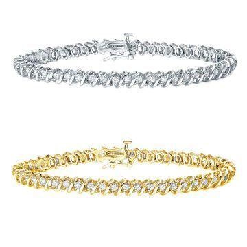 Auriya 1ct to 10ct TW S-link Diamond Tennis Bracelet 14k Gold