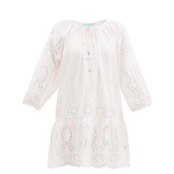 Melissa Odabash - Ashley Broderie-anglaise Cotton-twill Minidress - Womens - Light Pink