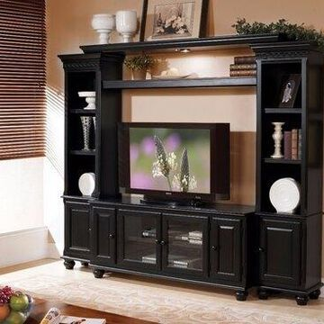 Benzara BM158716 Elegant Entertainment Center, Black