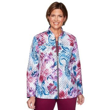 Women's Alfred Dunner Floral Print Quilted Jacket