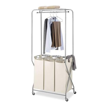 Whitmor Triple Sorter Laundry Cart, Beig/Green, WARDROBE
