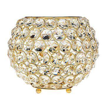 "Godinger 7.5"" Glam Crystal Ball Tea Light Candle Holder In Gold"