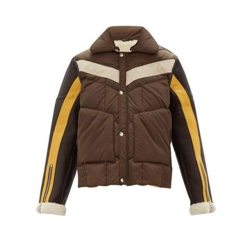Schott - Leather-sleeves Technical-quilted Shearling Jacket - Mens - Brown Multi