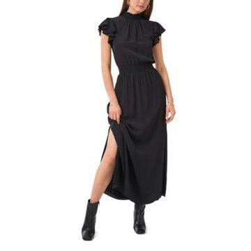 1.state Flutter Sleeve Smocked Neck Maxi Dress