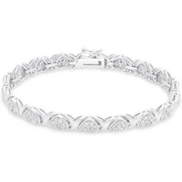 Finesque Gold over Silver or Sterling Silver 2 ct TDW Diamond XO Bracelet (Sterling Silver)