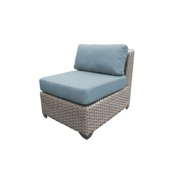 TK Classics Florence Grey Wicker Outdoor Armless Sofa