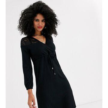 Mamalicious nursing lace detail jersey dress in black