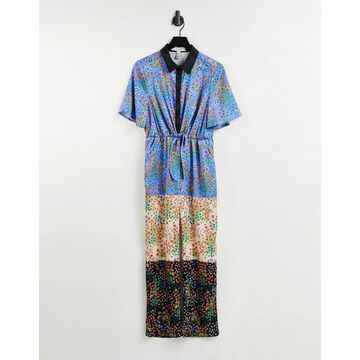 Liquorish jumpsuit in ditsy floral print-Multi