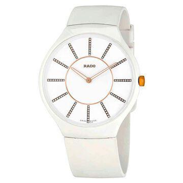 Rado True Thinline White Diamond Dial White Rubber Ladies Watch R27957709