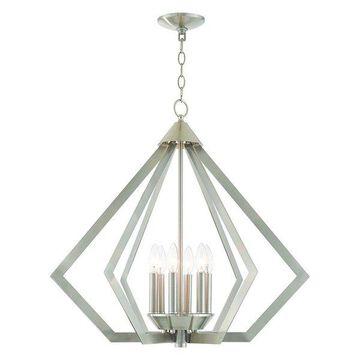 Livex Lighting Prism Light Chandelier, Brushed Nickel