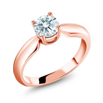 0.84 Ct White 925 Rose Gold Plated Silver Ring Made With Swarovski Zirconia
