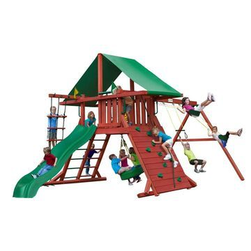 Gorilla Playsets Sun Valley I Wooden Swing Set with Green Vinyl Canopy and Rope Ladder