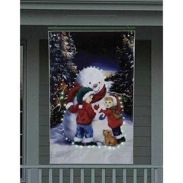 Roman 4' Lighted Snowman with Children Christmas Banner