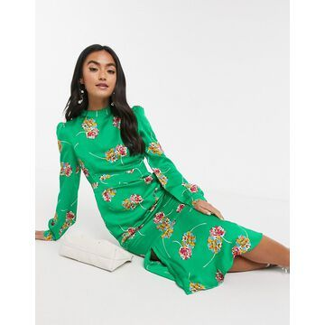 Liquorish high neck drop hem midi dress in green