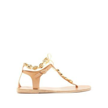 Ancient Greek Sandals - Chyrsso Shell-embellished Leather Sandals - Womens - Tan