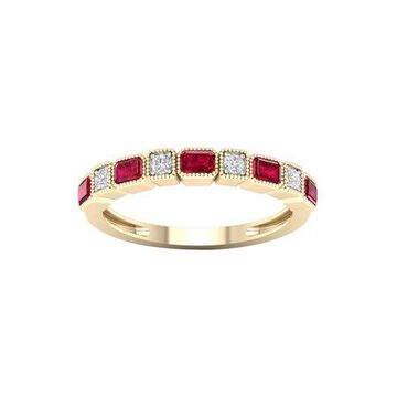 Imperial Gemstone 10K Yellow Gold Ruby 1/20 CT TW Diamond Women's Band