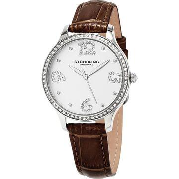 Stuhrling Original Women's Chic Quartz Crystal Brown Leather Strap Watch (Stuhrling Original Women's Watch)