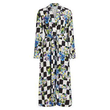 Off-White Check Satin Pajama Robe