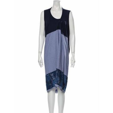 Plaid Print Knee-Length Dress Blue