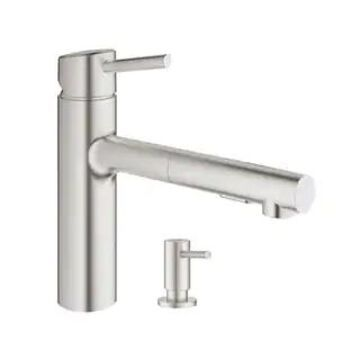 Grohe Concetto Pull-Out Kitchen Faucet with Soap Dispenser