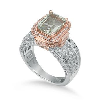 Suzy Levian Two-Tone Sterling Silver 5.18 cttw Green Amethyst Ring