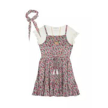 Rare Editions Girls' Girls 4-6X Printed Knit Gauze Jumper With Headband - -