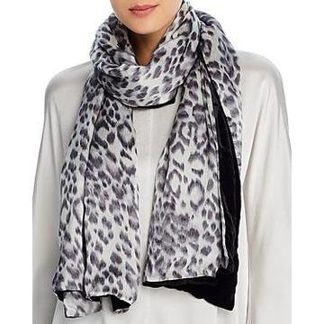 Echo Leopard-Print & Velvet Oblong Scarf