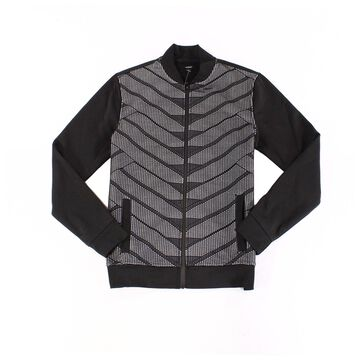 Alfani Deep Mens Fleece Full Zip Patterned Sweater