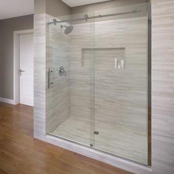 Basco Vinesse 45-in to 47-in W Frameless Chrome Bypass/Sliding Shower Door