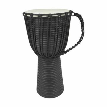 Benzara Handmade Wooden Drum Decor with Carved Leather Top, Black and Cream | UPT-207778
