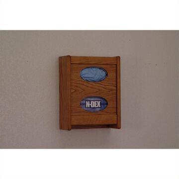 Wooden Mallet Glove and Tissue Box Holder in Medium Oak