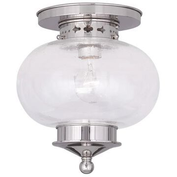 Livex Lighting 5036 Harbor 1 Light Semi-Flush Ceiling Fixture Polished Nickel Indoor Lighting Ceiling Fixtures Semi-Flush
