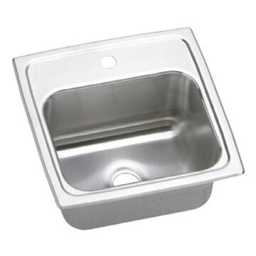 Elkay Gourmet 15-in L x 15-in W Lustrous Highlighted Satin 1-Hole Stainless Steel Drop-In Residential Bar Sink