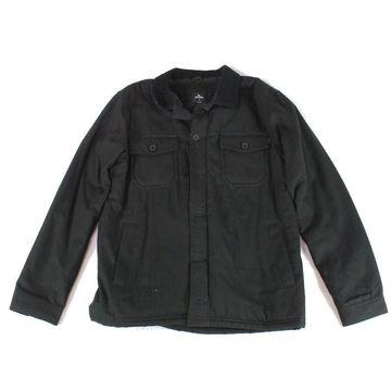 Rip Curl Mens Jacket Black Size Medium M Fleece Corduroy Collared
