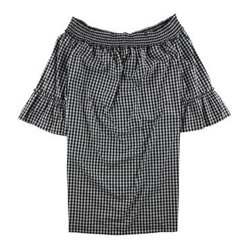 Charter Club Womens Gingham Off-Shoulder Dress