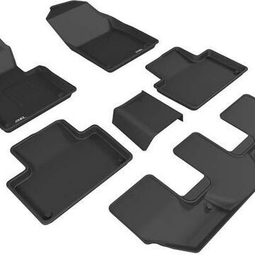 3D Maxpider Kagu Floor Mats, Front, 2nd, and 3rd Row Floor Mats in Black