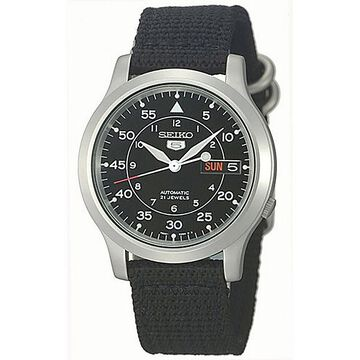 Seiko Mens Black Strap Watch-Snk809