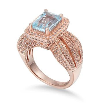 Suzy Levian Sterling Silver 5.25 TCW Blue Topaz Ring