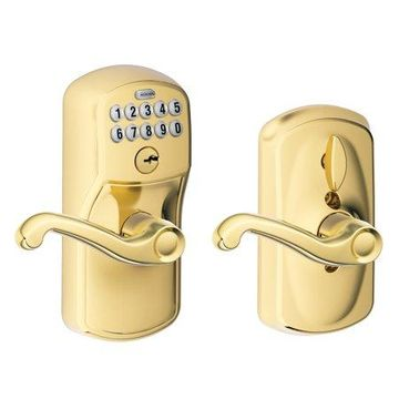 Schlage FE595VPLY505FLA Bright Brass Keypad Lever With Plymouth Trim And Flair Lever With Flex Lock
