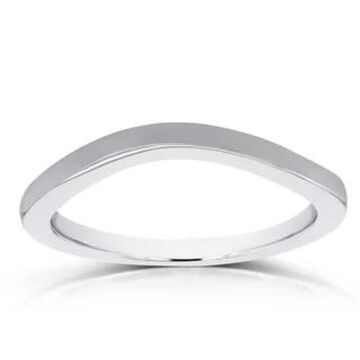 Annello by Kobelli 14k White Gold Curved Shadow Wedding Band