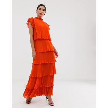 Y.A.S pleated tiered maxi dress-Orange