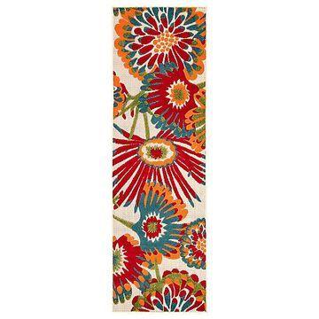 Belize Indoor / Outdoor Floral Runner Rug by Jaipur - Color: Red (RUG141377)