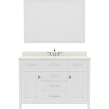 Virtu USA Caroline 48-in Single Bath Vanity in White with Dazzle White Top and Round Sink with Brushed Nickel Faucet and Mirror | MS-2048-DWQRO-WH-001