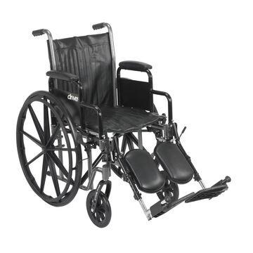 Drive Medical Silver Sport 2 Wheelchair, Detachable Desk Arms, Elevating Leg Rests, 16-in Seat in Black | SSP216DDA-ELR