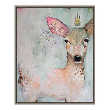 Amanti Art The Woodland Wanderer Deer Framed Canvas Wall Art, Grey, 16X20